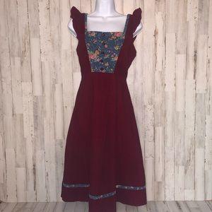 Sears Jr. Bazaar Vintage Floral Corduroy Dress